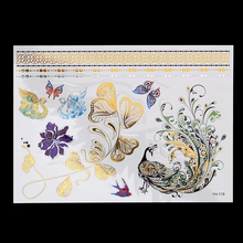 1 Sheet Body Art Jewelry Flash Tattoo Metallic Gold Silver Temporary YH-119 Beauty Decal 3D Big Large Flower Swan Tattoo Sticker