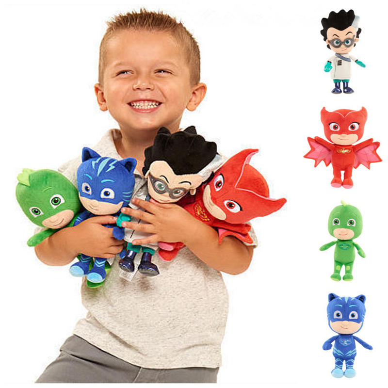 4PCS 20CM Tall PJ Characters Catboy Owlette Gekko Cloak Romeo Cartoon With Masks Plush Doll Toy Boy Birthday Gifts For Children pj cartoon pj masks command center car parking toy lot car characters catboy owlette gekko masked figure toys kids party gift