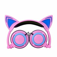 1pc High Quality LED Music Lights Headphone Foldable Cat Ear Rechargeable Headset For Mobile Phone MP4 Player