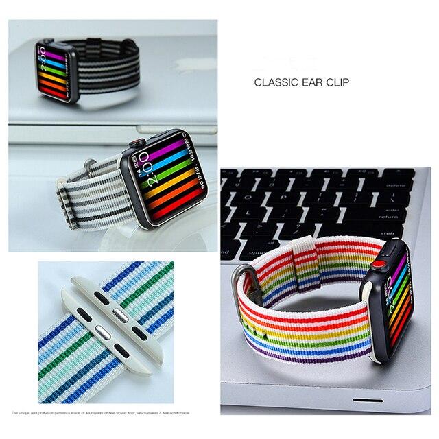Woven nylon strap For Apple watch band 44mm 40mm correa aplle watch 42 mm 38 mm wrist bracelet belt Iwatch 4/3/2/1 watchbands