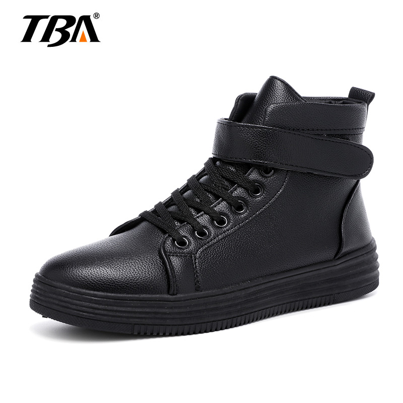 New 2015 High Top Men Shoes Spring Winter Pu Leather Casual Fashion Zapatos Hombre Breathable Warm Lace Up Black Red mycolen new autumn winter men black casual shoes men high tops fashion hip hop shoes zapatos de hombre leisure male botas