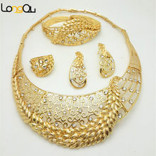 Hot Sales Nigerian brand Wedding African Jewelry Sets Dubai Gold-color Jewelry Sets overgild Costume Romantic Long Design(China)