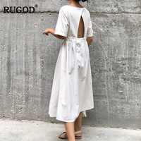 RUGOD 2018 Summer Fashion Cotton Solid Dress Office Lady Elestic Waist O neck Women Summer Dresses A Line Long Dresses Female