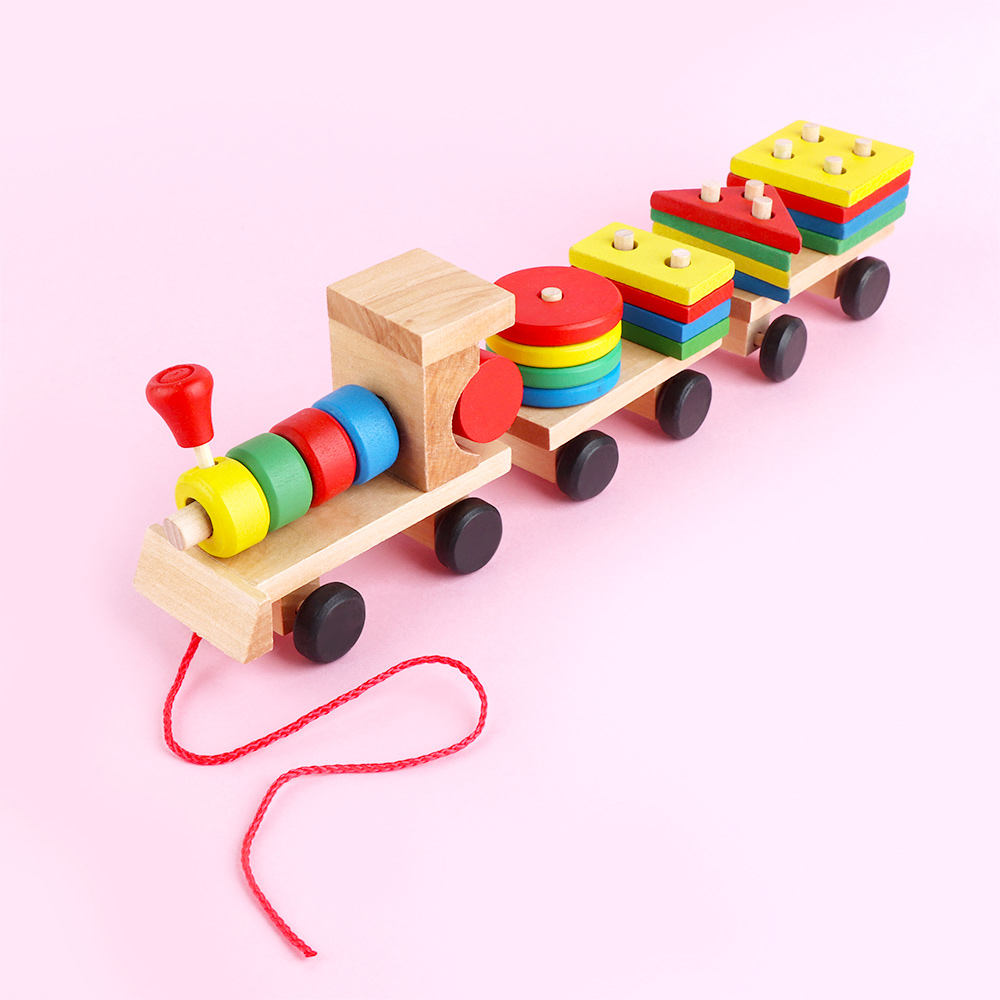 1set Wooden Stacking Train Vehicle Building Blocks Kids Educational Montessori Geometric Assembly Matching Cognitive Blocks Toys