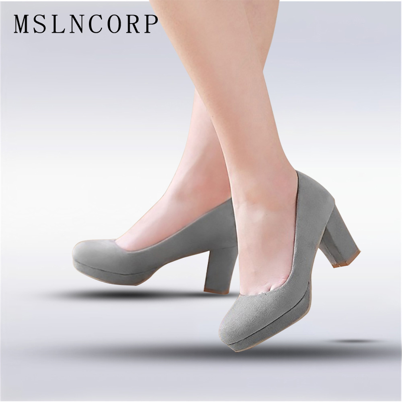 plus size 34-43 Fashion Women Platform high heels pumps shoes woman Slip On Ladies Chunky Heels Office Career Party Wedding Shoe plus size 34 43 new platform flat shoes woman spring summer sweet casual women flats bowtie ladies party wedding shoes
