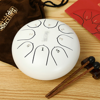New 6 inch Steel Tongue Drum Mini 8 Tone G Tune Hand Pan Drum Tank Hang Drum with Drumsticks Carrying Bag Percussion Instruments