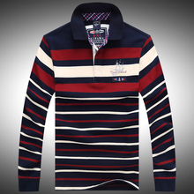 Shark men polo shirt Tace & Shark autumn mens fashion brand shirt long sleeve striped casual polo shirt high quality