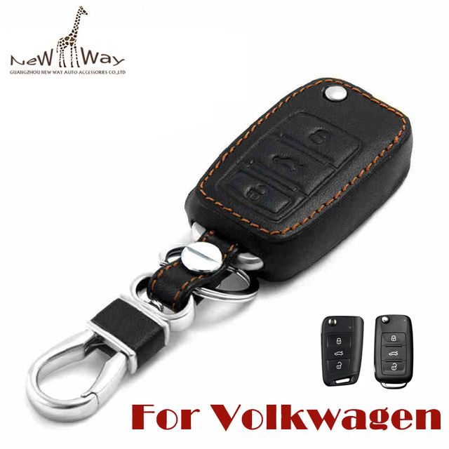 Excellent Quality leather car key cover Key Case for Volkswagen Bora Polo Passat Lavida Tiguan Jetta Car Accessories Car styling