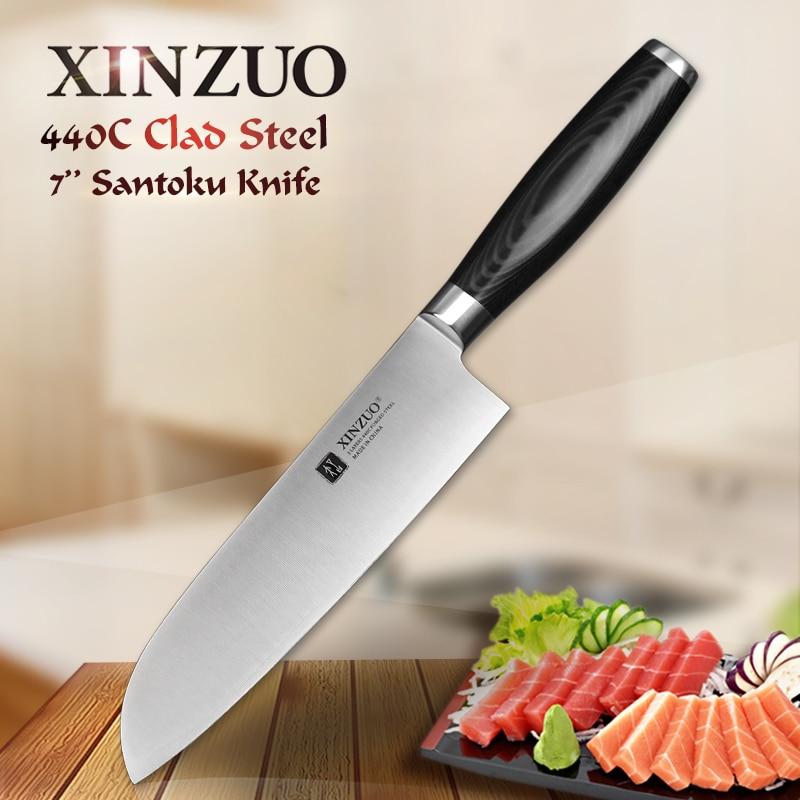 XINZUO 7 pouce santoku couteau trois couches 440C acier plaqué cuisine couteau très sharp Japonais chef couteau de cuisine outil livraison gratuite
