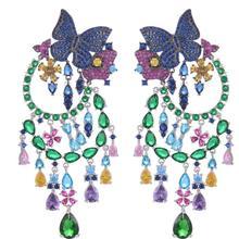 Jankelly модные длинные серьги в виде бабочки, большие женские серьги для свадебной вечеринки