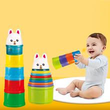 8 sztuk edukacyjne zabawki dla dzieci 6 miesięcy figurki litery składane stos Cup wieża dzieci wczesna inteligencja alfabet zabawki dla Children0 tanie tanio SL93005 Urodzenia ~ 24 Miesięcy Zwierzęta i Natura