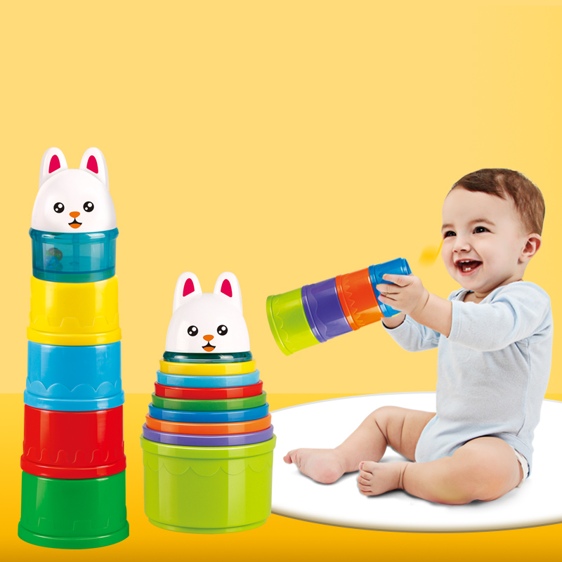 8PCS Educational Baby Toys 6Month Figures Letters Folding Stack Cup Tower Children...