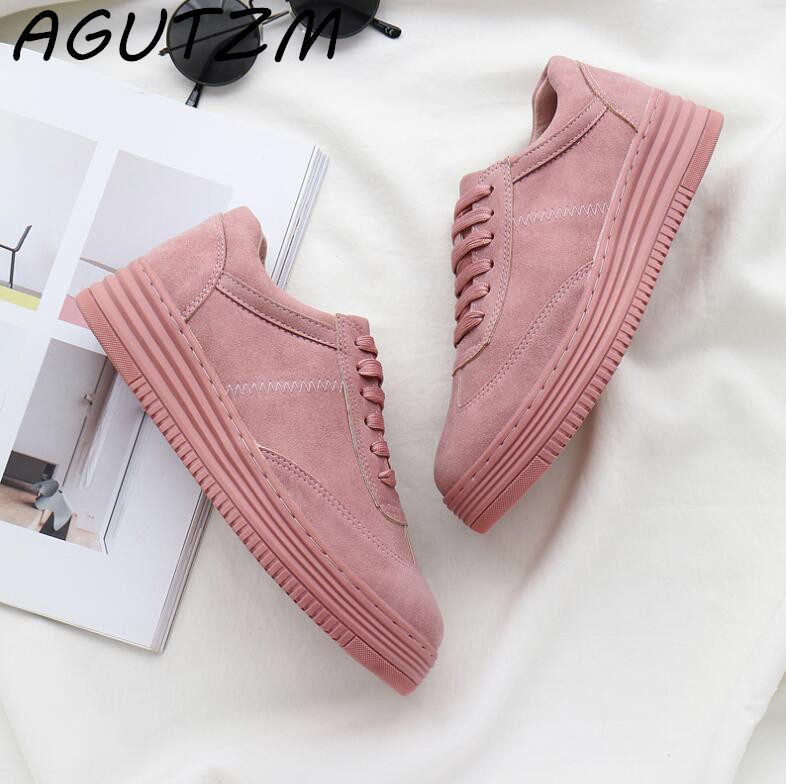 AGUTZM Genuine Leather Women Sneakers Fashion Pink Shoes For Women Lace Up White Shoes Creepers Platform Shoes Size 35-41