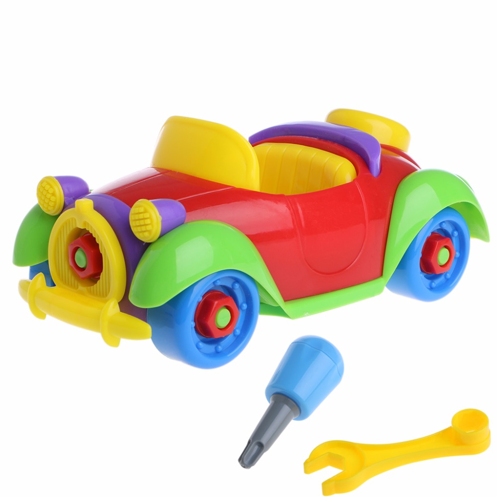 Baby Kid Colorful Car Puzzle Assembly Early Educational Toy Diy Creative Bricks