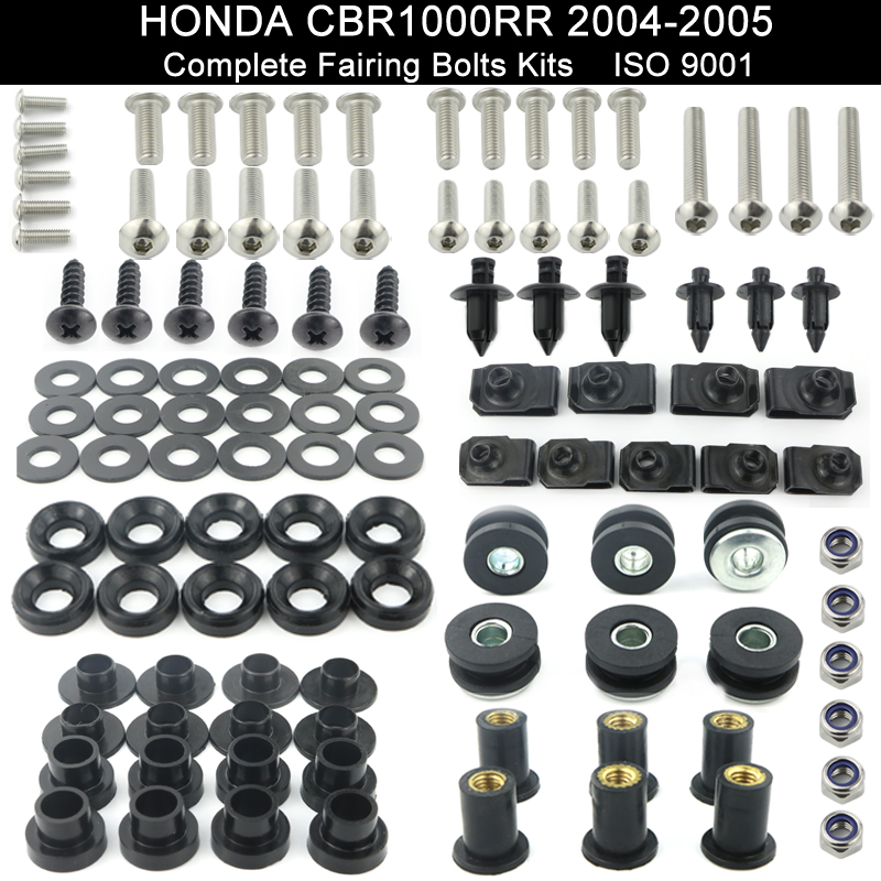 2004 2005 Cbr 1000Rr Silver Fairings Bolts Screws Fasteners Kit Set Made in USA