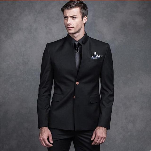 2a7fbbd6be2f Новый Для мужчин костюмы черный воротник-стойка жениха свадебные костюмы  смокинги однобортный Формальные работе деловые