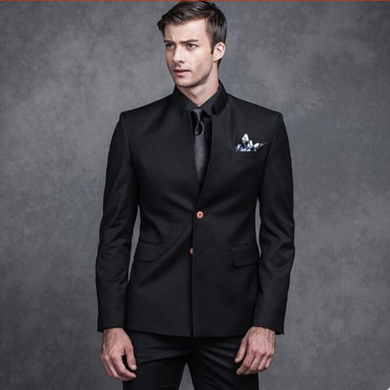 new Men suits black mandarin collar groom wedding suits ...