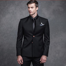 new Men suits black mandarin collar groom wedding suits tuxedos single breasted formal work business suits(jacket+vest+pants)