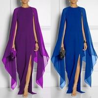 d3804674a7711b Women Bat Sleeve Shawl Chiffon Long Dress Noble Elegant Sleeveless Split Party  Dress Prom Maxi Dress