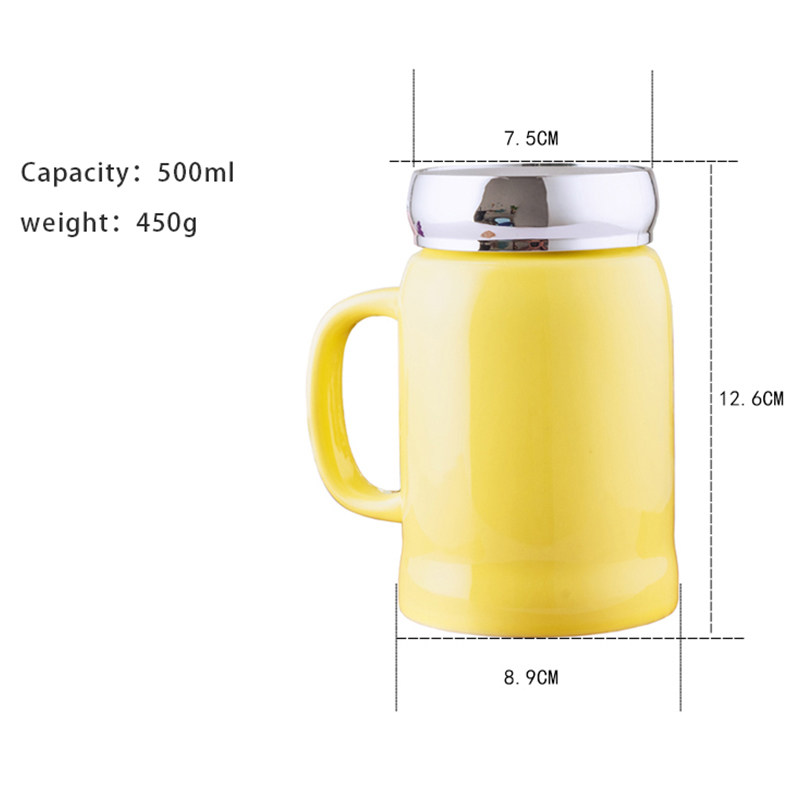 500ml Large Capacity Coffee Mug with Mirror Lips Yellow Red Ceramic Tea Cup Girls Mugs for Women Students Office Home Use in Mugs from Home Garden