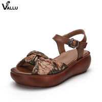 Butterfly Knot Sweet Women' s Sandals Handmade Genuine Leather Lady Sandale Peep Toe High Platform Female Wedge Shoes