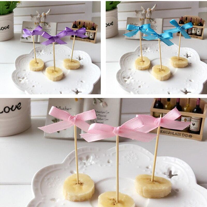 10pcs Lovely Small Ribbon Bow Cupcakr Birthday Cake Topper Pick