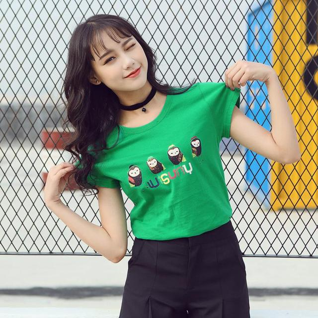 Mulheres T-shirt Plus Size Camiseta Verão 2017 Estilo Coreano Padrão bonito Dos Desenhos Animados O-pescoço Manga Curta Top Femme XXL Alta qualidade