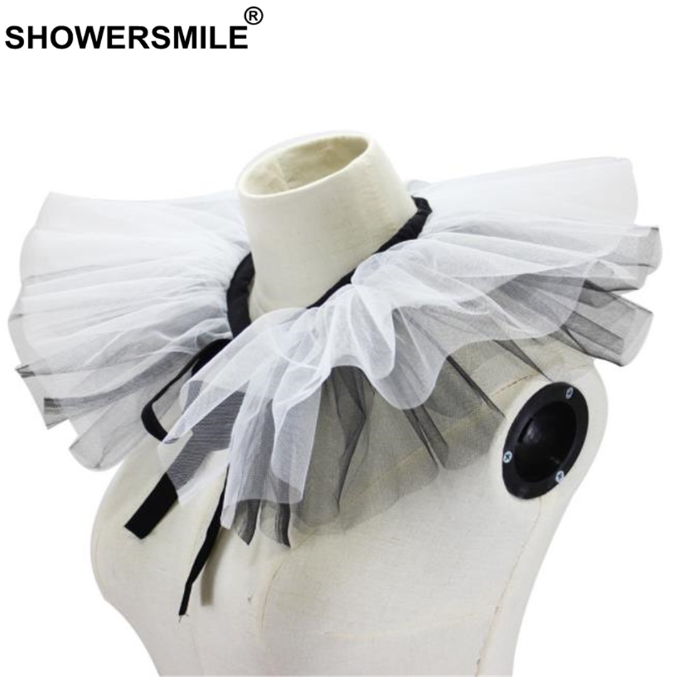SHOWERSMILE Fake Collar For Women Detachable Ruffle Collar Black White Spring Brand Fashion Ladies Faux Collar
