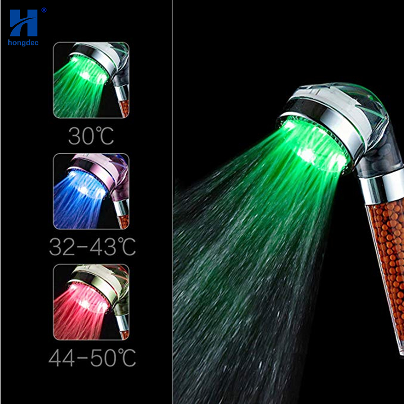 Hongdec Temperature Control 3 Color SPA Ionic Filter LED Hand Held Shower Head Removes Impurities