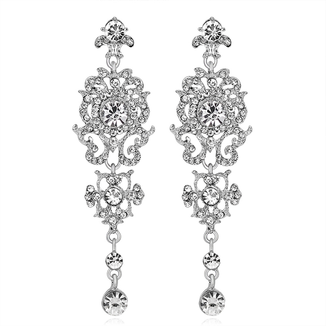 Hollow Rhinestone Flower Dangle Long Drop Ear Stud Women Tail Prom Earrings