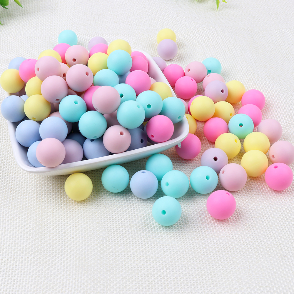 TYRY.HU 30pcs Silicone Beads 9/12/15mm Baby Teether Loose Beads For Necklace Silicone Teething Beads BPA Free Silicone Teether tyry hu 1 piece baby teether mushroom teether bpa free silicone teething beads silicone teether baby shower gift