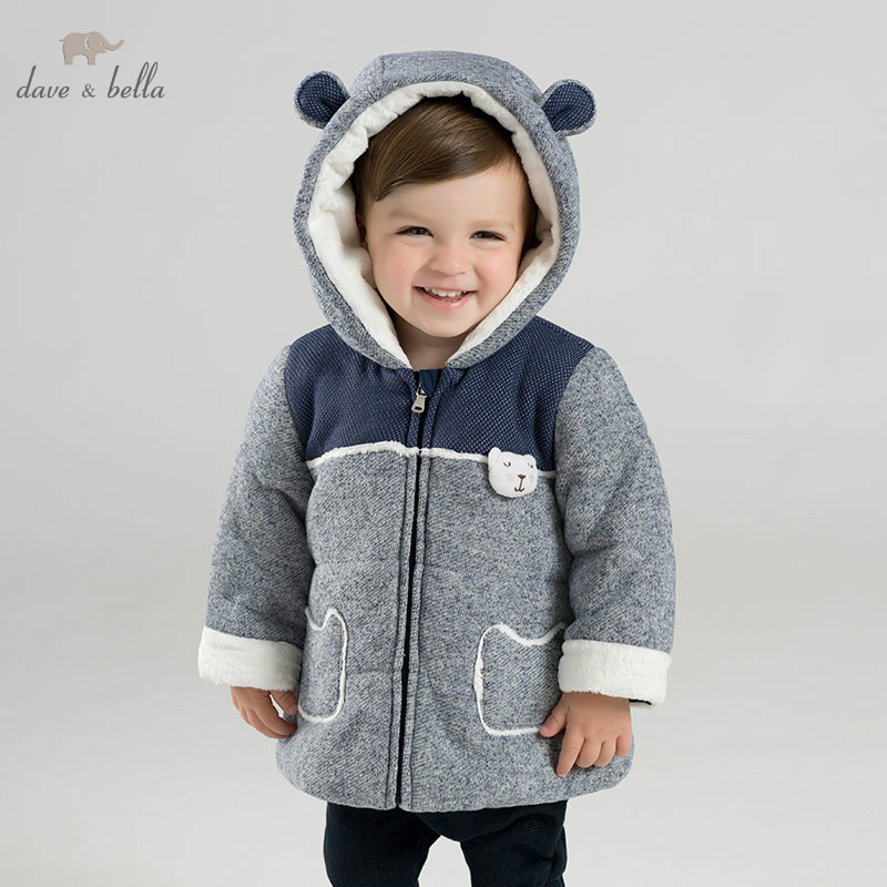 DBM8913 dave bella winter baby boys lovely hooded coat infant padding jacket children high quality coat kids padding outerwear