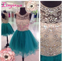 Linyixun Sexy Homecoming Dresses ScoopNeck Hunter Teal Tulle Crystal Beaded Illusion Short Mini Graduation Formal Cocktail