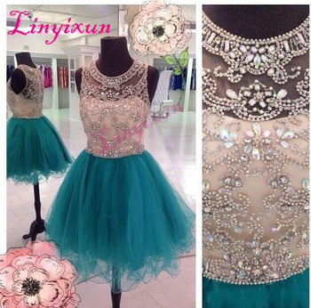 Linyixun Sexy Homecoming Dresses ScoopNeck Hunter Teal Tulle Crystal Beaded Illusion Short Mini Graduation Formal Cocktail Gowns