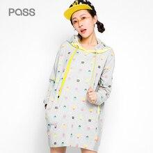 PASS Autumn Woman Dress Kwaii Long Sleeve Dot Print Knee Length Dresses Woman Cotton Casual Pocket Colorful Hoodied Dress
