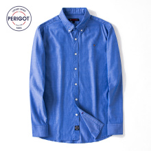 PERIGOT PGM170105 2017 New All Seasons Men's Business Casual Blue Shirt Male 100% Cotton Solid Classical Shirt Top S-L