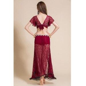 Image 2 - 2 adet Kadın Oryantal dans kostümü Dantel Üst Uzun Etek Seksi Kıyafetler Giyim V Yaka Bellydance Dans Elbise Dansçı Giymek