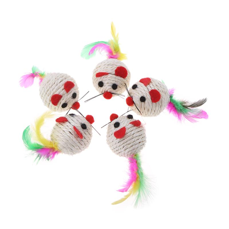5Pcs/lot Sisal False Mouse Cat Toys Feather Funny Playing Toys for Cat Kitten Interactive Playing Toys Pet Cat Products