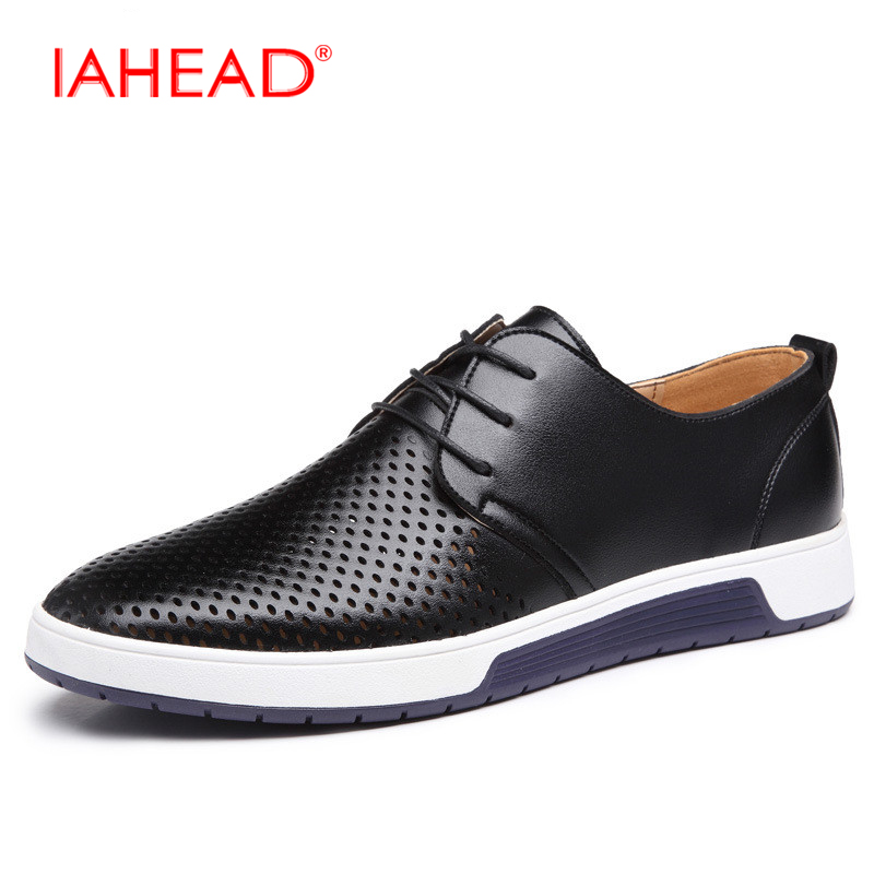 Men Leather Casual shoes For Summer Spring Solid Lace Up Genuine Leather Shoes Normal Size Fashion Super Quality Flats Shoe MC03 high quality men flats casual new genuine leather flat shoes men oxford fashion lace up dress shoes work shoe sapatos