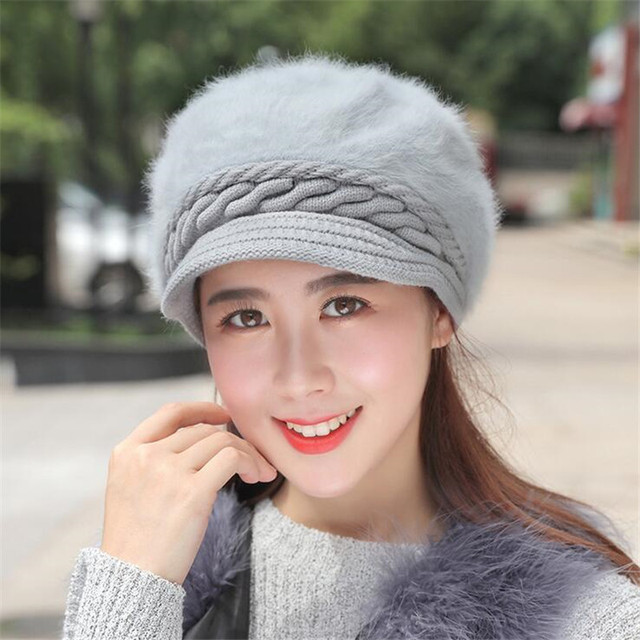 Fox fur ball cap winter hat women beanies cap 5