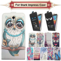Top Selling 11 Colors Cartoon Pattern Up and Down Flip PU Leather Case For Stark Impress Cool