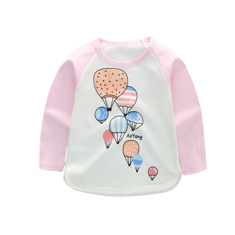 SP-SHOW 2018 summer fall new ins baby explosions pure color printed long sleeved children's T-shirts