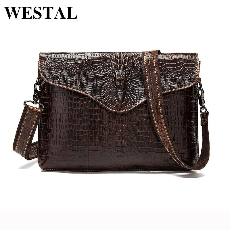 WESTAL 정품 가죽 남자 가방 패션 악어 패턴 남자 크로스 바디 숄더 가방 남자의 작은 서류 가방 남자 클러치 백 9113
