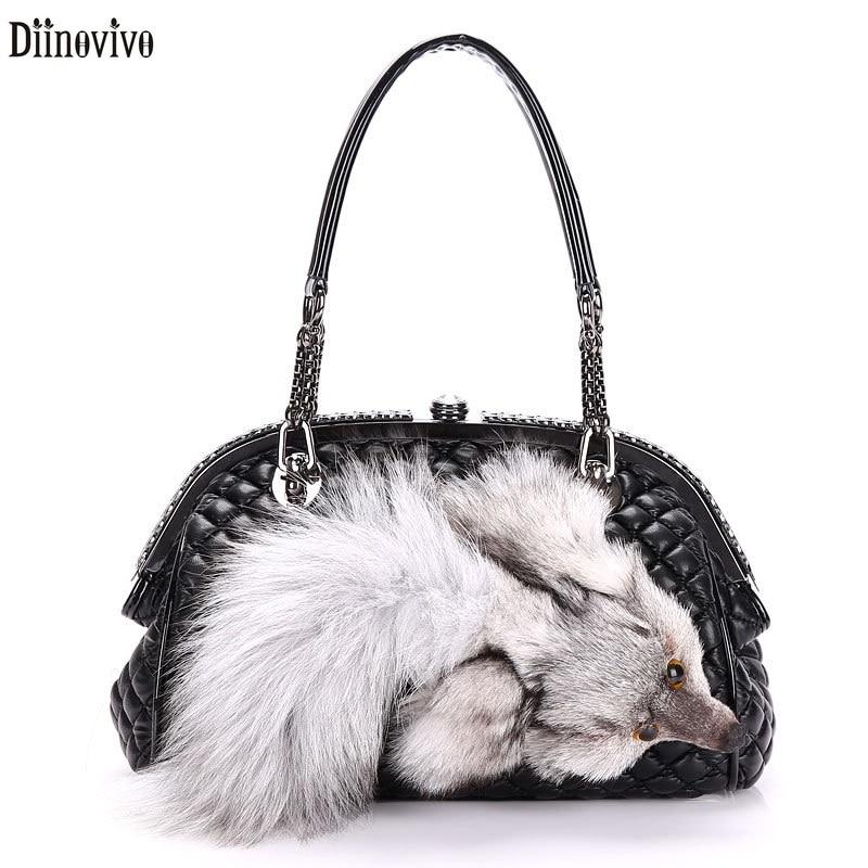Diinovivo Quilted Luxury Las Handbag Designer Chain S Bags Fake Fur Fox Shoulder High Quality Messenger Bag Dnv0720