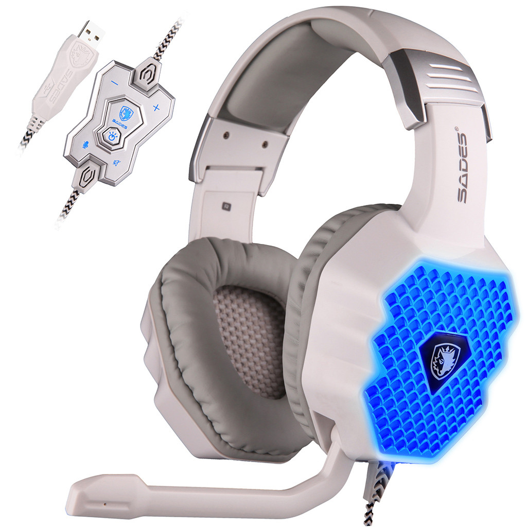 SADES A70 Breathing Lamp Computer Game Wired Headset Microphone USB7.1 Headphone Auriculares Con Cable 19Jun12
