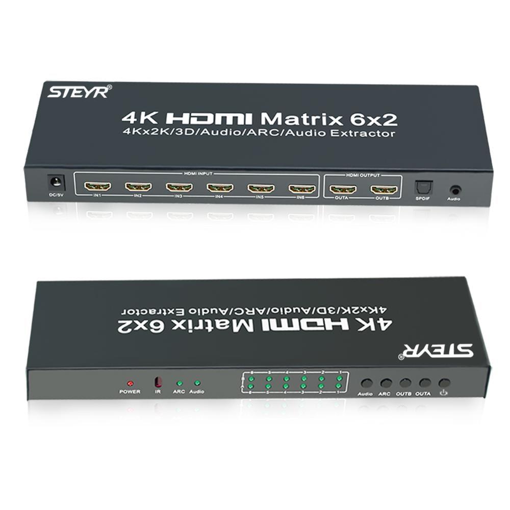STEYR 6 port HDMI Matrix 6X2 HDMI Switch Splitter 6 input 2 output Support 4Kx2K/3D/IR/ARC/SPDIF optical and 3.5mm Audio Output