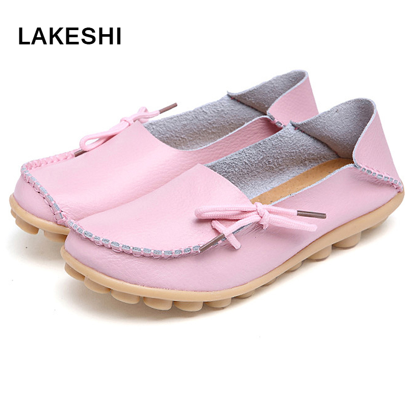Woman Summer Casual Shoes Women Flats Soft Outsole Leather Flats Shoes Lace-Up Women Driving Shoes
