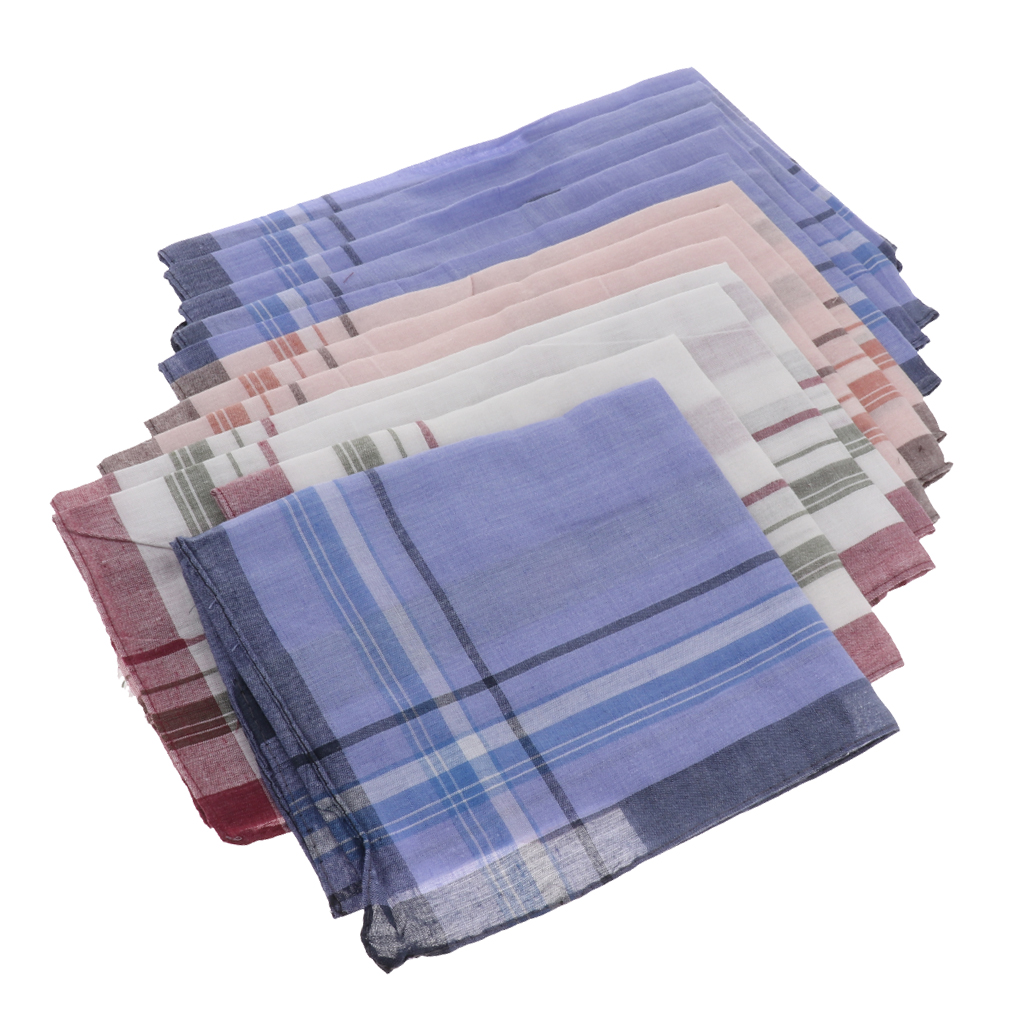 12 Pieces Men Assorted Cotton Handkerchiefs Plaid Print Pocket Square Soft Hanky