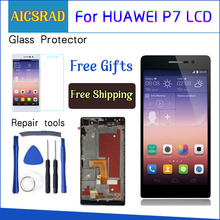 AICSRAD 5 אינץ 1920x1080 תצוגה עבור HUAWEI P7 LCD Ascend P7 מגע מסך Digitizer עצרת עם מסגרת