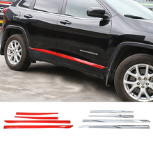 SHINEKA Car Styling ABS Door Side Decorative Strips Cover Trims for Cherokee 14-16